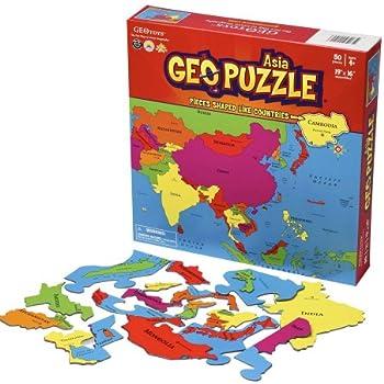 GeoPuzzle Asia - Educational Geography Jigsaw Puzzle (50 pcs)