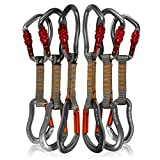 Fusion Climb 6-Pack 11cm Quickdraw Set with Techno Wave Burgundy Screw Gate Carabiner/Techno Zoom Orange Straight Gate Carabiner