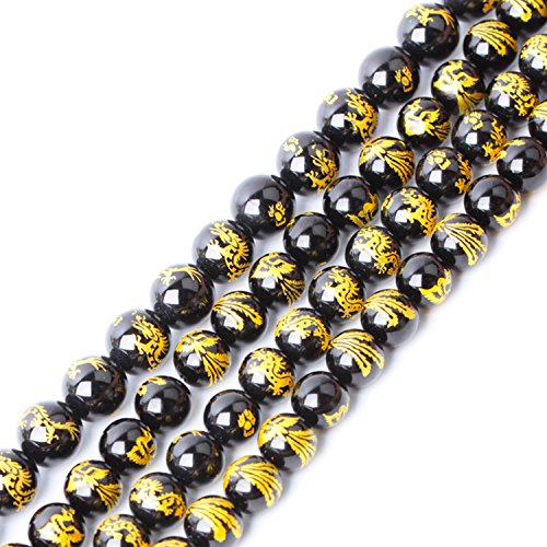 JARTC Natural Stone Black Agate Carved Dragon Pattern Rare Collection Round Loose Beads for Jewelry Making DIY Bracelet Necklace (10mm)