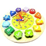 OLSUS Wooden Shape Sorting Clock Jigsaw Puzzle Educational Toy For Kids learning clock Through Fun & Play Age 3 Years and Up