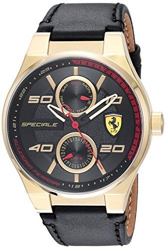 Scuderia Ferrari Men's 'SPECIALE MULTI' Quartz Gold-Tone and Leather Casual Watch, Color:Black (Model: - Ferrari Specials