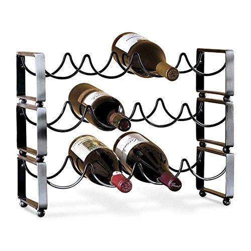 Four Bottle Matte Black Stacking Wine Rack