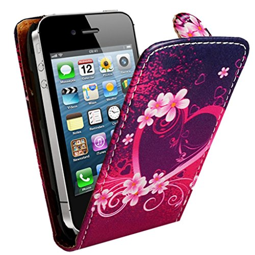 Mobile Case Mate Apple iPhone 4s Premium PU Cuir chiquenaude coque Affaire Couverture Case Cover Pochette Pare-chocs - Rose Noir Coeur Design avec Stylet