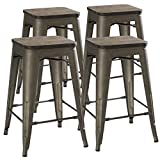 24'' Counter Height Bar Stools! (RUSTIC GUNMETAL & Wooden Seat) by UrbanMod, [Set Of 4] Stackable, Indoor/Outdoor, Kitchen BarStools,! 330LB Limit, Metal Bar Stools! Industrial, Steel, Counter Stools!