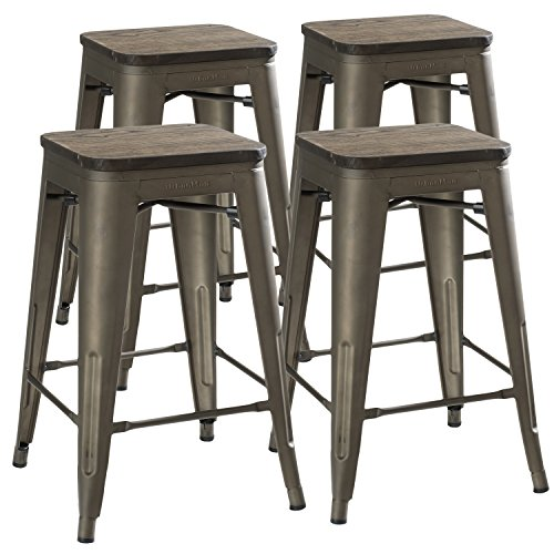 UrbanMod 24 Inch Bar Stools for Kitchen Counter Height, Indoor Outdoor Metal,Rustic Gunmetal, Wooden Seat ()