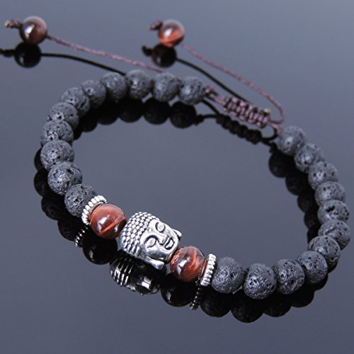 Men and Women Adjustable Braided Bracelet Handmade with Lava Rock, Red Tiger Eye and No Lead & Nickle Tibetan Silver Sakyamuni Buddha & Spacers T228