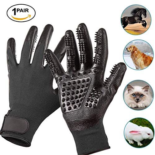 Peteco Dog Grooming Gloves, Pet Deshedding Gloves Five Fingers Acupressure Massager Glove Tool, Efficent Pet Hair Removal Gloves for De-Shedding, Bathing, Grooming, Massaging on Horses/Dogs/Cats ()