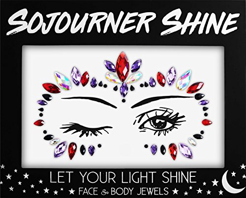 Face Jewels Glitter Gems Rhinestones - Eye Body Jewels Gems | Rhinestone Stickers | Body Glitter Festival Rave & Party Accessories by SoJourner (Ruby Eyes)]()