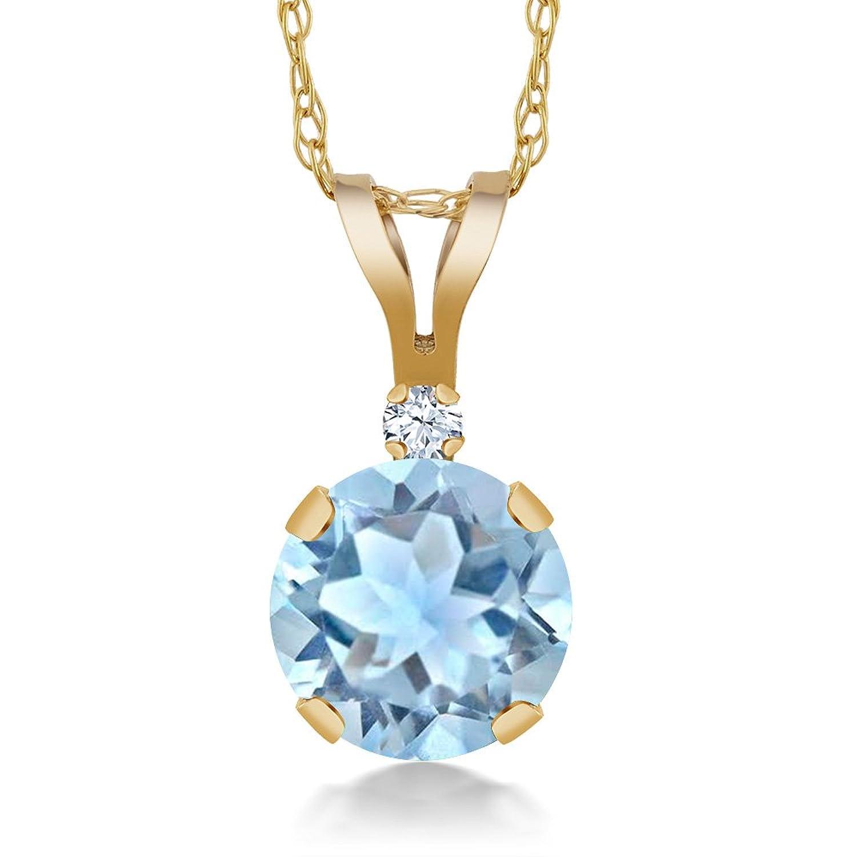 0.77 Ct Round Sky Blue Aquamarine White Created Sapphire 14K Yellow Gold Pendant