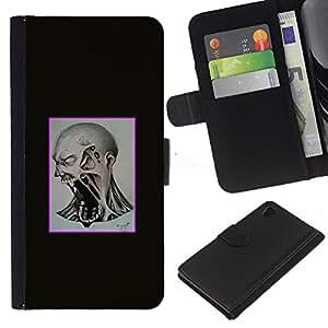 JackGot ( Scream Mad ) Sony Xperia Z4v / Sony Xperia Z4 / E6508 la tarjeta de Crédito Slots PU Funda de cuero Monedero caso cubierta de piel