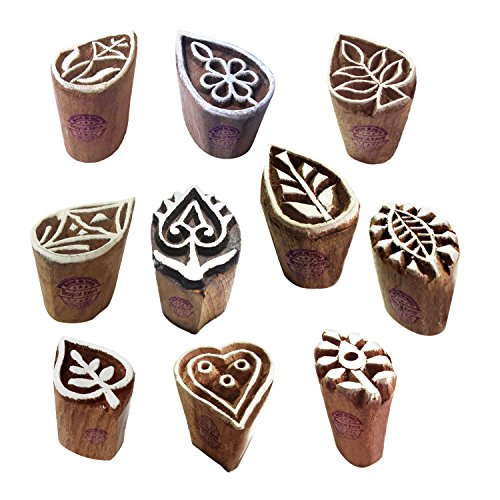 Pottery Print Blocks Original Small Drop Leaf Design Wood Stamps (Set of 10)