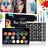 Face Paint Kit, Luckyfine Professional Face and Body Glitter Face Painting Oil Eyeshadow Makeup Loose Glitter for Face Body Hair Loose Chunky Holographic Festival Party