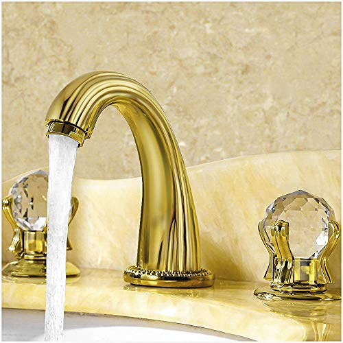Aposhion Luxury Gold Finish Bathroom Faucet with Crystal Knobs 3 Holes Bath -