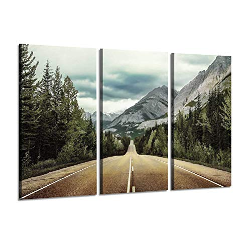 Mountain Tree Rocky - Nature Picture Landscape Artwork Paintings : Seaside Road with Trees and Rocky Mountains, Wall Art on Wrapped Canvas Set for Decoration