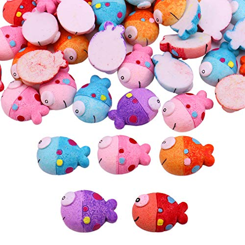 JETEHO 50 Pack Animal Slime Charms Cute Resin Tropical Fish Slime Beads Flatback Buttons for Scrapbook Phone Craft - Charm Fish Green