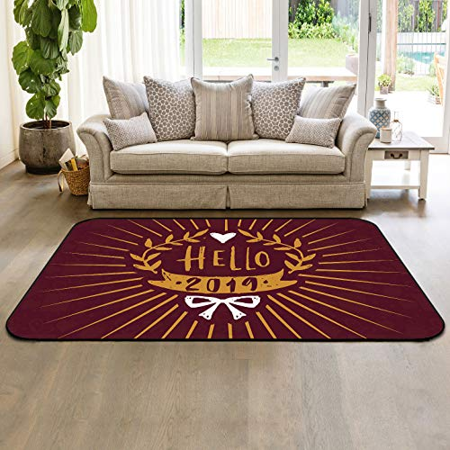 Retro Collection Area Rug Indoor Carpets 2'x3' Hello 2019 with Willow Branches Floor Mats for Kids Room Living Room Home Decor (Best Budget Vacuum Cleaner 2019)