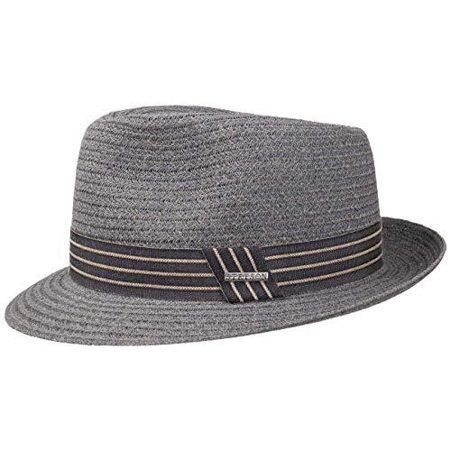 Stetson Carson Fedora Toyo Straw Hat Men Grey-Blue XL (7 1/2-7 5/8)