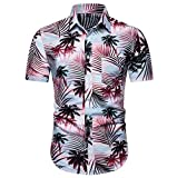 YKARITIANNA Fashion Men's Casual Button Hawaii Print Beach Short Sleeve Quick Dry Top Blouse