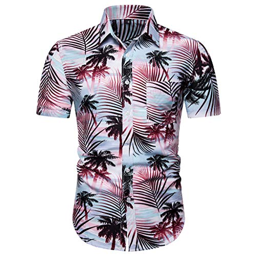 YOcheerful Men's Tops Casual Button Down Hawaiian Print Beach Shirts Short Sleeve Quick Dry Tops Blouses(Red, L) (Patons Patterns Wool Free)