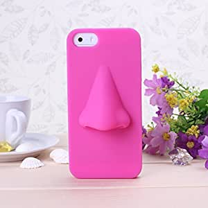 Wkae Case For HTC One M8 Cover Case 3D Nose Solid Color Pattern Soft PC Case For HTC One M8 Cover by Diebell (Rose Pink)