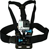 Chest Mount Harness for GoPro Cameras - Adjustable Body Strap Rig + 3-Way Adjustment Base with Aluminum Thumbscrew Kit - Fits ALL Go Pro Hero Models - HERO4 - HERO3+ Black Edition - 1 Year Warranty
