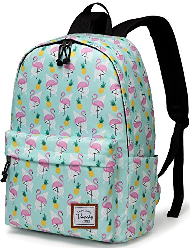 School Backpacks for Girls,Vaschy Cute Lightweight Water-Resistant w 14in Padded Laptop Sleeve in Pineapple Flamingos by Vaschy