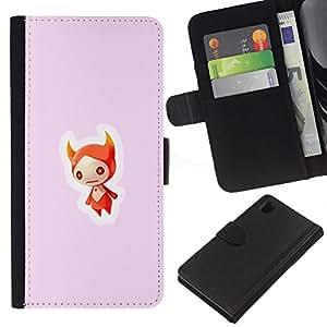 """A-type (craneo Rojo"""") Colorida Impresión Funda Cuero Monedero Caja Bolsa Cubierta Caja Piel Card Slots Para Sony Xperia Z1 L39"""