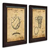 2 pc Framed Modern Patent Set - Basketball and Goal 14'x17' each