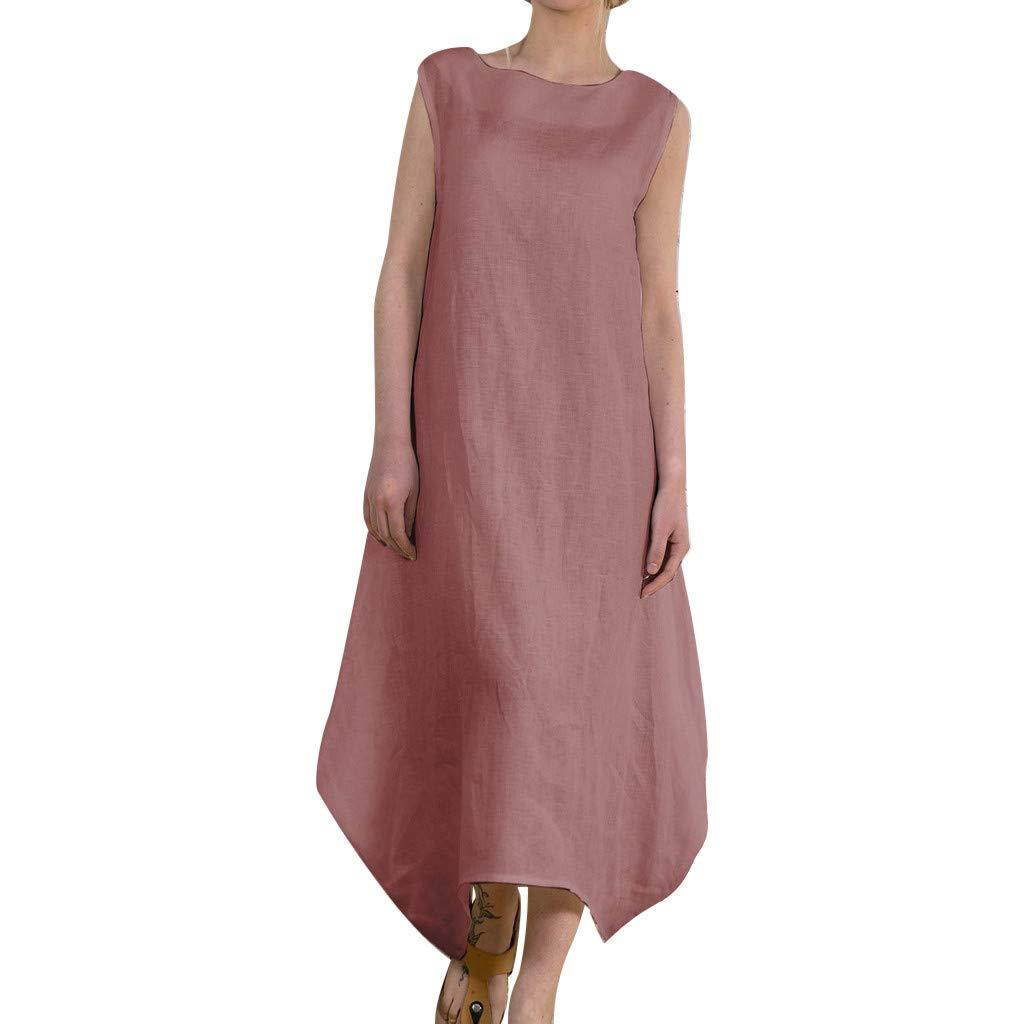 Women Linen Print O-Neck Sleeveless Dress Fashion Women's Irregular Casual Dress Plus Size (Pink, S)