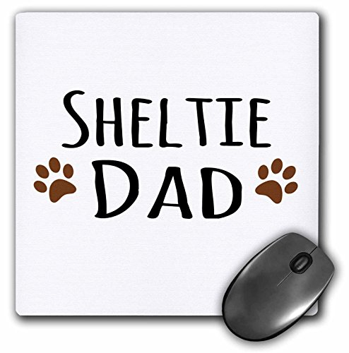(3dRose InspirationzStore Pet designs - Sheltie Dog Dad - Shetland Sheepdog - Doggie by breed - brown paw prints - doggy lover pet owner - MousePad (mp_153983_1))