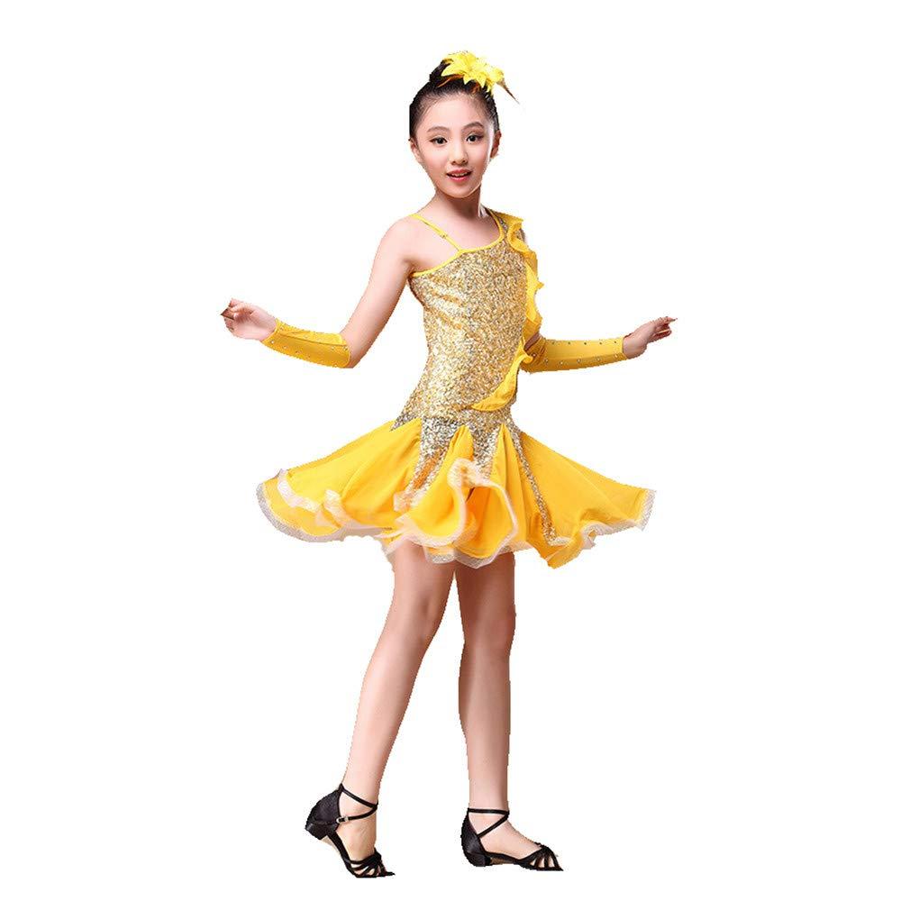 Jaune petit Jupe Danse Filles Enfants Enfants Filles Danse Latine Robe Rumba Samba Salle De Danse Perforhommecewear Compétition Danse Costume Robe Outfit avec Main Manches Coiffure Robe de costume de justaucorps de