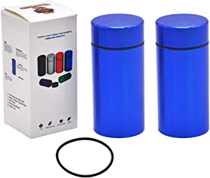 2x Stash Jar - Airtight Water Proof/Smell Proof Durable Multi-Use Portable Aluminum Herb Container Screw-top Lid Lock Odor (BLUE)