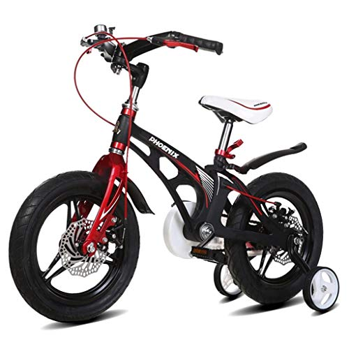 Kids' Bikes Children's Bicycle Mountain Bicycle boy Girl Bicycle City Sports Bicycle, Magnesium Alloy Frame with Auxiliary Wheel (Color : Black, Size : 12inches)