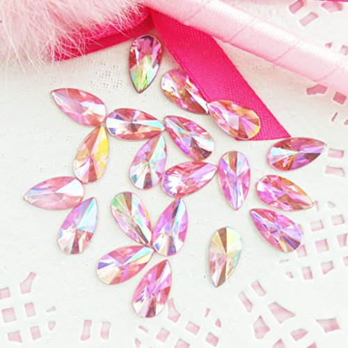 30 pcs 8x13mm Teardrop Light Pink AB Acrylic Special Effect Rhinestones *ship with FREE GIFT from GreatDeal68*