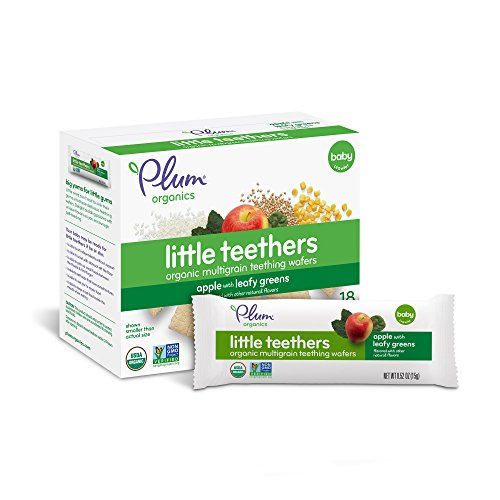 Plum Organics Little Teethers, Organic Baby Teething Wafers, Apple with Leafy Greens, 3 oz, 6 count