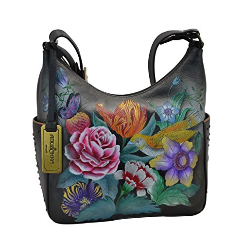 Anuschka Women's Genuine Leather Shoulder Bag | Hand Painted Original Artwork | Classic Hobo With Studded Side Pockets | Vintage Bouquet from Anuschka