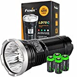 FENIX LD75C 4200 Lumen multi color beam (White/Red/Blue/Green) CREE XM-L U2 LED Flashlight / Searchlight with four EdisonBright CR123A batteries bundle
