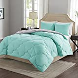 girl bed with slide - Comfort Spaces Vixie Reversible Goose Down Alternative Comforter Mini Set - 2 Piece – Aqua and Grey – Stitched Geometrical Pattern – Twin/Twin XL size, includes 1 Comforter, 1 Sham