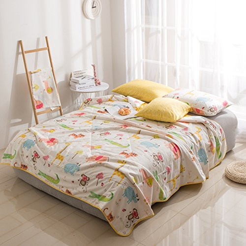 Quilt Comforter 100% Cotton Made Patchwork Cartoon Printed Children Duvet Comforter Spring & Summer Blanket Twin Comforter Sizes 59''x79'' Crazy Animal Design for Kids Teens (Twin, Crazy Animals, White) by Nova