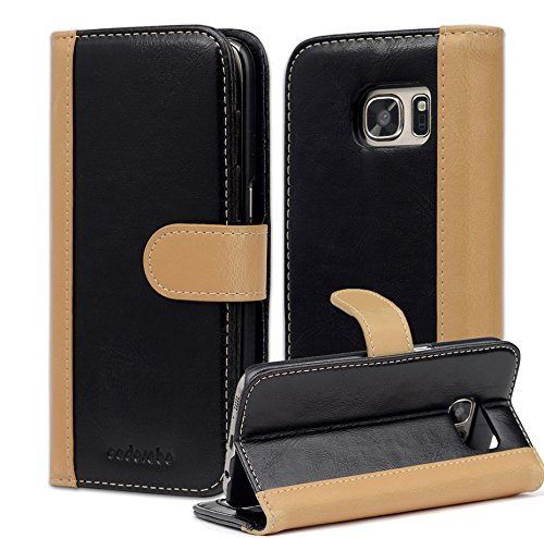 Cadorabo Case Works with Samsung Galaxy S7 Book Case in Black Khaki (Design Bicolor) - with Magnetic Closure, Stand Function and Card Slot - Wallet Case Etui Cover Pouch PU Leather Flip