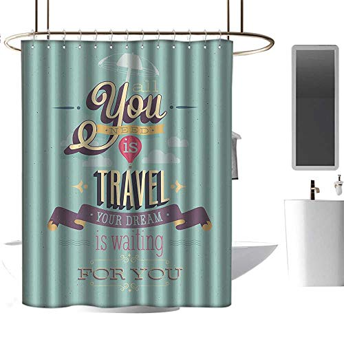 Shower Curtains tub Vintage Decor,Travel Dream Voyage Inspirational Motivational Themed Quote Happy Advertisement,Blue,W48 x L84,Shower Curtain for clawfoot -