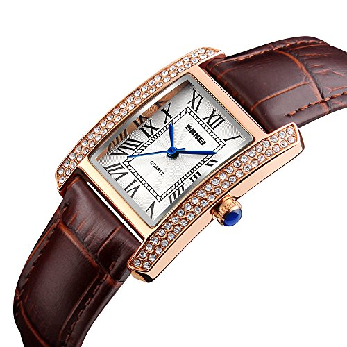 Women Dressy Watches Quartz Leather Waterproof Square Dial Rose Gold Silver Case Watch for Ladies Female -Brown-Rose Gold (Brown Dial Roman)