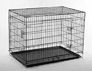"""Black 42"""" Pet Folding Dog Cat House Crate Cage Kennel w/ABS Tray LC"""