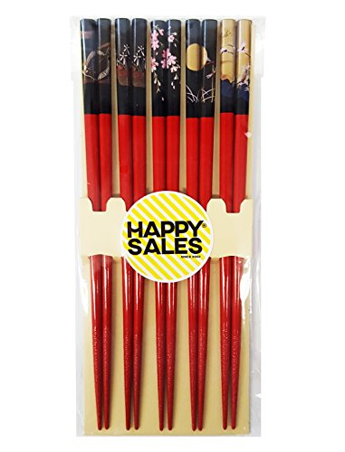 Bamboo Chopsticks Gift Set Wave Design (Scenery Red Color)