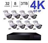 Q-See 4K (8MP) QT-IP Kit Eight Camera with NVR IP Ultra-HD 32-Channel with 3TB HDD with H.265 (QT816-3 + 8x QTN8086Ba)