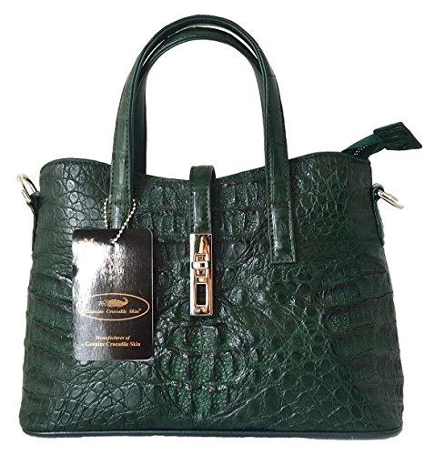 e Skin Womens Hornback Bag Tote W/Strap Snap Button Handbag (Dark Green) (Exotic Skin Handbags)
