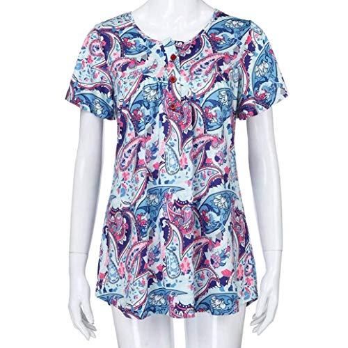 Modle Bonne Mode Et Top Blouse Style Elgante Femme Impression Qualit Shirt Blusen Chemise Spcial Blau Cou Jeune Bouffant De Courtes Mode Plier Manches Top V Irrgulier xAwYH5qq