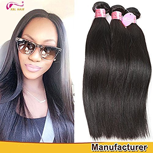 XBLHAIR 100% Brazilian Remy Virgin Human Hair Weave 7A Grade Straight Hair Extensions 3 Bundles Deals Black (12 14 16) 95-100g/pc
