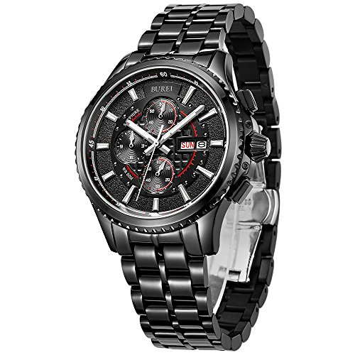 Metal Watch (BUREI Mens Sport Quartz Watches with Black Case Datejust Sapphire Crystal Glass Metal Band)