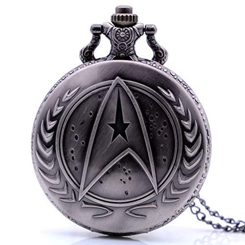 Vintage Movie Quartz Pocket Watch for Mens Womens with Necklace Chain&Fob Pocket Chain Christmas Birthday Gifts (Star Trek) (Trek Christmas Star Gifts)